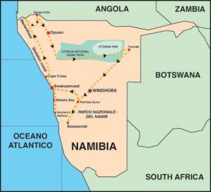 Cartina Namibia