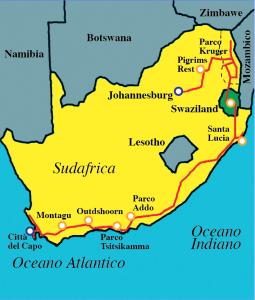 Cartina Sudafrica