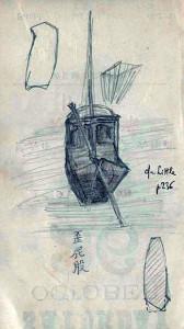 Giunca con remo timone, disegno di Giovanni vacca